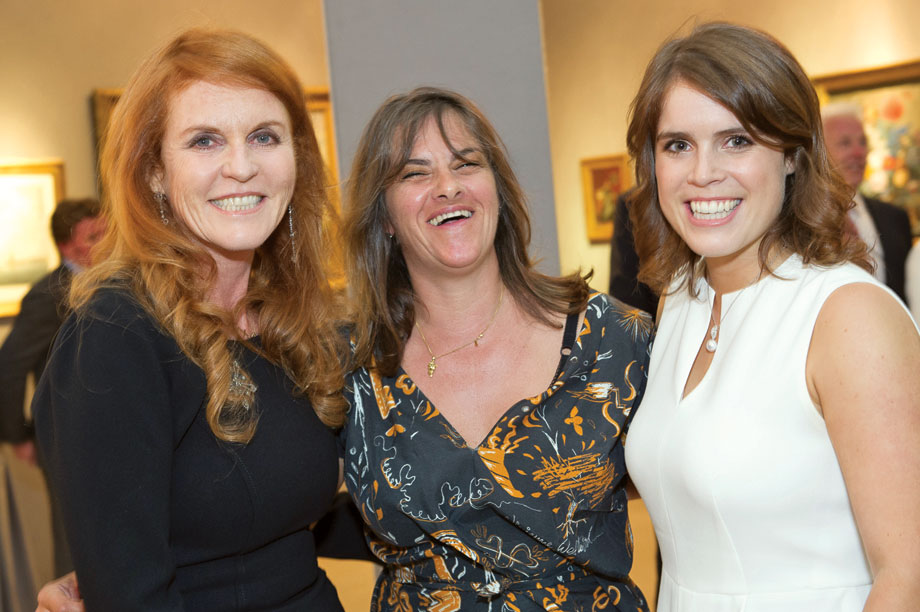Princess Eugenie (right), with her mother the Duchess of York (left) and Tracey Emin (centre)