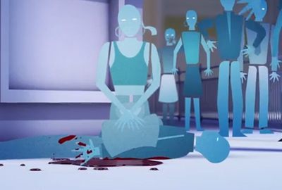 A still from the British Red Cross and Art Against Knives video