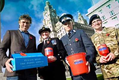 John Bishop [L] launches a drive for Poppy Appeal volunteers