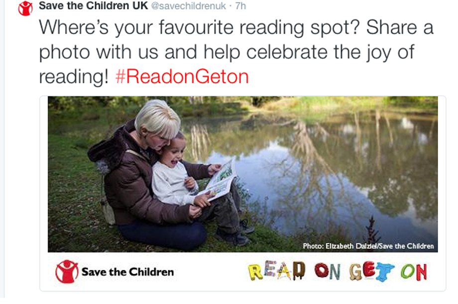 A tweet from Save the Children's campaign