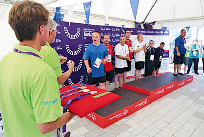 Aquatics medal ceremony on day two of the Special Olympics
