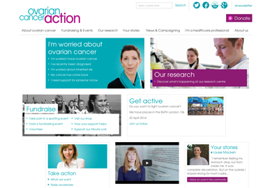 The new Ovarian Cancer Action website promotes information about the charity's research