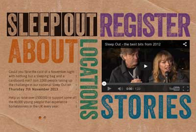 Centrepoint's Sleep Out website