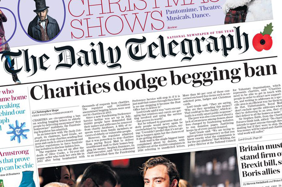 Saturday's Telegraph front page