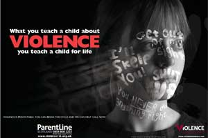 End the abuse: ParentLine's poster