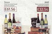 Aldi ad: skewed price comparison with inclusion of Moet champagne