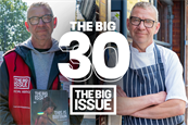 The campaign shows Ian Duff's journey from the street, to selling the magazine and then to chef.