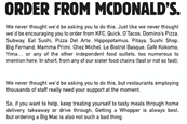 Burger King encourages consumers to order from arch rival McDonald's