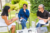 Campaign's Atifa Silk (left) discusses the evolution of creativity with Dentsu's Ted Lim (middle) and Yuya Furukawa (right)