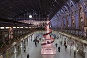 Lancome installs 36-foot pink Eiffel Tower in St Pancras