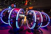 PlayStation recreated its large neon cylinders at Paris Games Week