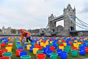 WaterAid uses empty water buckets to raise awareness of child poverty