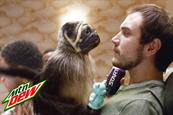 A puppy, monkey, baby come together in one odd hybrid for Mountain Dew's Super Bowl return