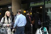 Starbucks: customers outside one of the Hammersmith branches on free latte morning