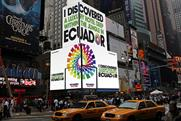 Ecuador tourism: Leagas Delaney's ad in Times Square, New York
