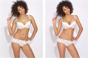 Airbrushing: photo of a lingerie model showing a digitally altered image on the right