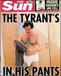The Sun: Saddam in his pants on front page