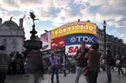 Fanta clock at Piccadilly Circus