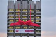 Chillisauce hoists giant bra onto Southbank Building for Breast Cancer campaign