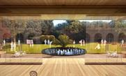 A CGI of the timber pavilion