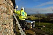 The new EE antenna being installed at a home in Cumbria