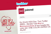 Twitter: tweets changed colour for World Aids Day