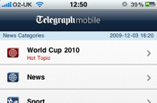 Telegraph mobile: ads on iPhone