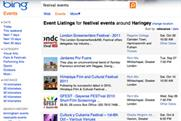 Microsoft's Bing Events tool features 10,000 UK venues