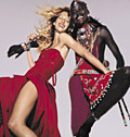 Red: Gisele and Maasai warrior promoting