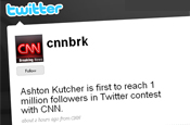 CNNbrk: Twitter race with Ashton Kutcher