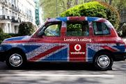 One of Vodafone's 500 patriotic taxi wraps