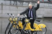 Boris tries out the special-edition yellow Barclays bike