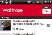 Waitrose Christmas: new entry in the BR app chart