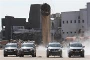 Vokswagen: Amorak pick-ups demolish tower as part of launch campaign