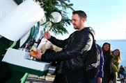 The Christmas tree serves complimentary beer to passers-by