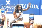 Tennis ace Serena Williams performs at Delta Air Lines' karaoke event at the W Hotel in London