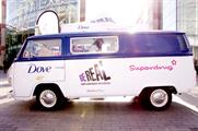 Dove's branded bus visited Birmingham, Liverpool and London