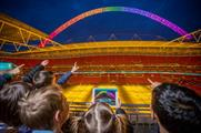 The app enables users to create their own light show on Wembley's arch