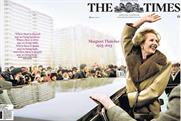 The Times: published a special cover wrap to mark Margaret Thatcher's passing