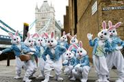 The bunnies visited iconic London locations before heading to train stations to hand out sweets
