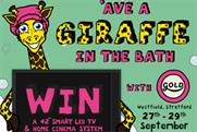 Initials is inviting shoppers to 'Ave A Giraffe' in the bath at Westfield Stratford