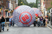 Ladbrokes: giant bingo balls in Lark Lane, Liverpool