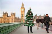 The wearable Christmas tree is visiting locations across the capital today (17 December)