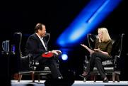 Marissa Mayer on stage with Marc Benioff