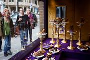 Shoes crafted out of chocolate appeared in Cadbury's Joy Boutique