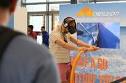 The VR experience transports participants to summer and winter destinations