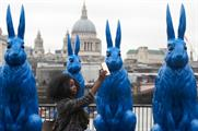 O2 unveils giant blue rabbits in London as part of new campaign