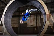 Damien Walters: parkour performer attempts a loop-the-loop