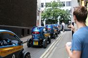 A fleet of Renault's Twizy electronic vehicles are offering a free shuttle service until 7pm