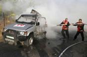 Scene of carnage: press vehicle hit by Israeli tank fire